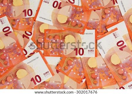 Background of ten euros notes - stock photo