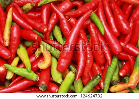 background of thai red and green hot chilli - stock photo