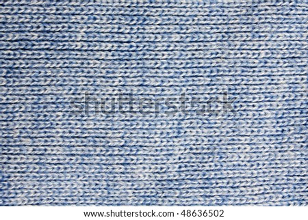 Background of the blue knitted fabric detail - stock photo