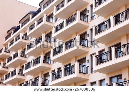 Background of the facade of residential building, the hotel's terraces - stock photo