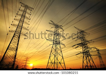 Background of the high-voltage tower in the sunset in skyline