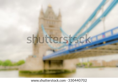 Background of the Tower Bridge, London, UK. Intentionally blurred post production. - stock photo
