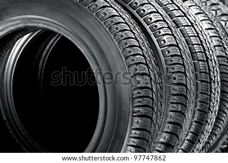 background of tires - stock photo