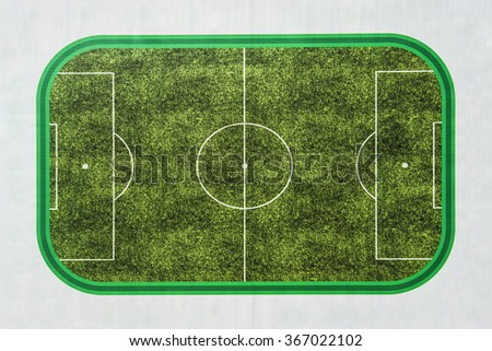 background of Top view of soccer field or football field. Photo image of Soccer meadow