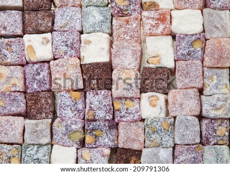 Background of turkish delight, view from above - stock photo