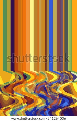 """Background of two realities: Multicolored abstract of solid parallel stripes above a mutant """"spaghetti"""" of overlapping sine waves - stock photo"""