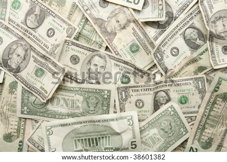 Background of US Currency Pile - stock photo