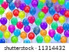 Background of various colorful party balloons - stock photo