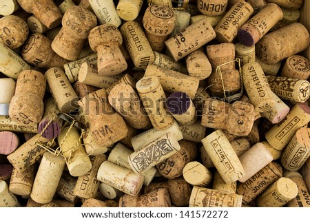Background of Various Used Wine Corks close up - stock photo