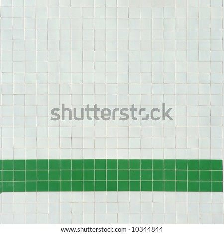 background of white and green tiles - square format