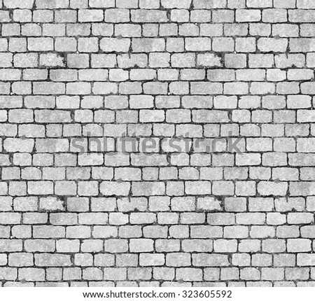 Background of white brick wall seamless close-up texture / room interior vintage with white brick wall and wood floor background/ Seamless texture. Perfect tiled on all sides - stock photo