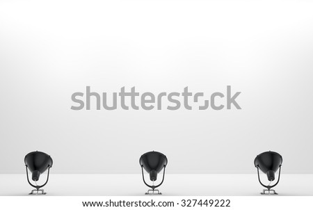 Background of white wall room with lamps on the floor 3d render - stock photo