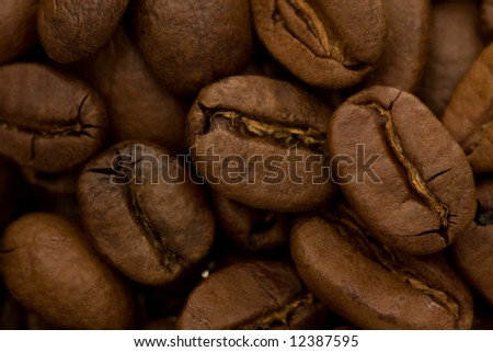 background of whole coffee beans, macro shot