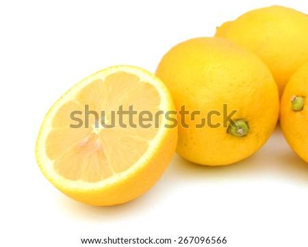background of yellow lemons isolated on white  - stock photo