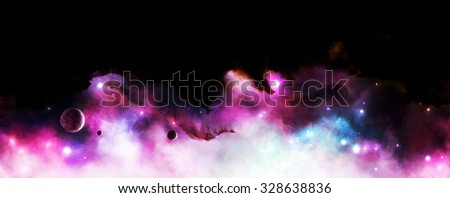 Background or frame illustration of a purple nebula with stars and planets in space