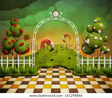 Background or illustration or poster with  flamingo and trees with roses. Computer graphics. - stock photo