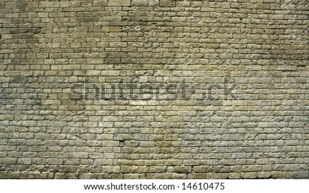 background or pattern of a big ancient brick wall, historic european church - stock photo