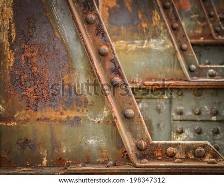 background or texture detail of the railway bridge - stock photo