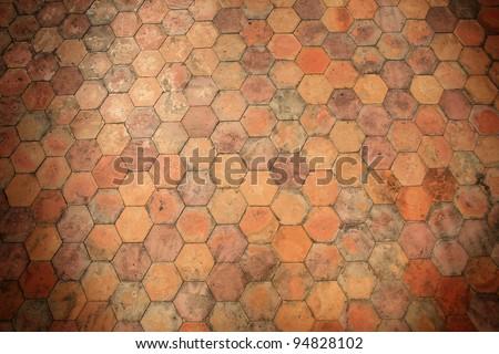 Background: orange stone pavement pattern - stock photo