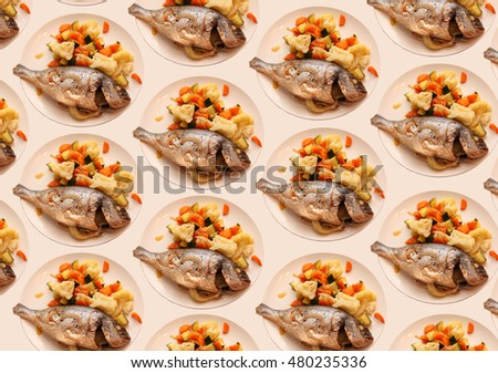 background pattern. Fish with vegetables . Suitable for cooking recipe and restaurant menu.