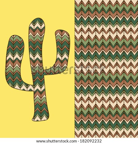background pattern with cactus. Use as backdrop, greeting card - stock photo