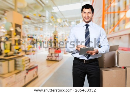 Background people, box, business. - stock photo