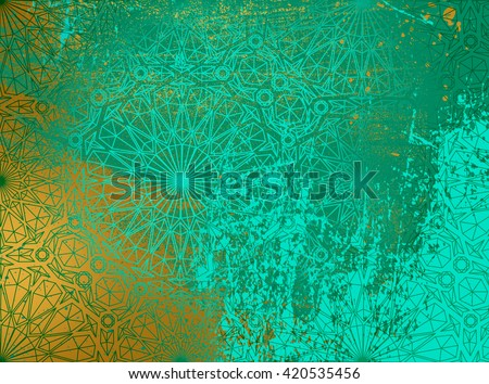 background Persian ornament on gold - stock photo