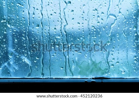 background raindrop on window glass blue