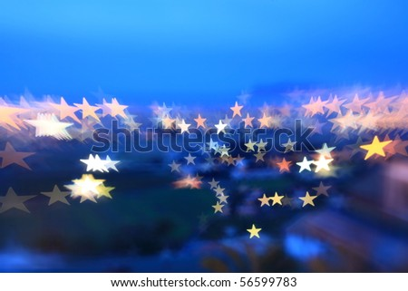 background resources: starry twilight, effect of light play over night cityscape of Palermo in Italy