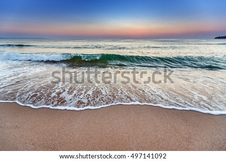 Background sea shore with a sandy beach
