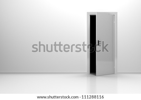 Background Shite Wall with floor and white door - stock photo