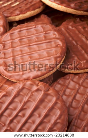 background shot of a group of chocolate biscuits - stock photo
