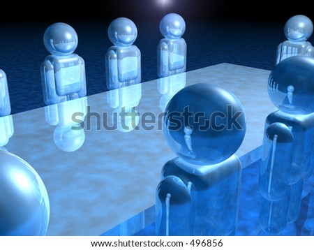 Background showing board meeting in progress - stock photo