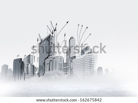 Background sketch image with building plan and strategy - stock photo