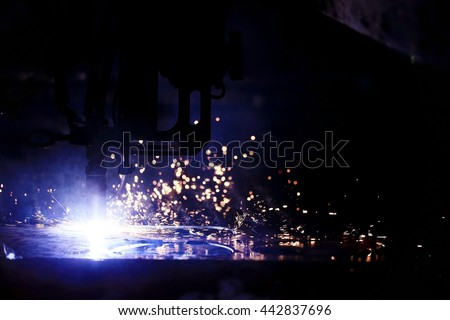 background sparks from welding