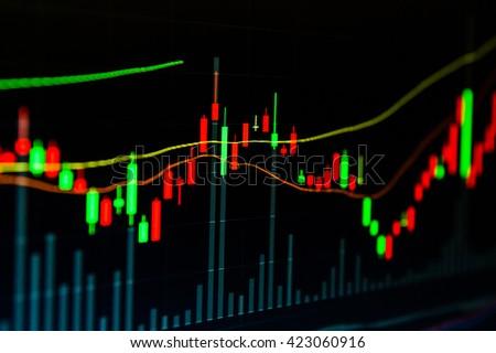 Background stock chart - stock photo