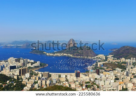 Background Sugarloaf mountain sky without clouds Guanabara bay, Rio de Janeiro, Brazil. Copy space - stock photo