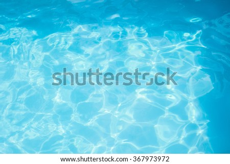 background surface water in the pool from above, sunny summer day