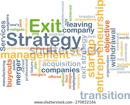 Background text pattern concept wordcloud illustration of exit strategy - stock photo