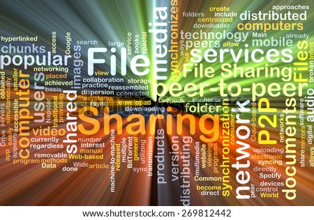 Background text pattern concept wordcloud illustration of file sharing glowing light - stock photo