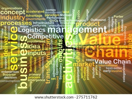 Background text pattern concept wordcloud illustration of value chain glowing light