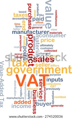 Background text pattern concept wordcloud illustration of VAT tax