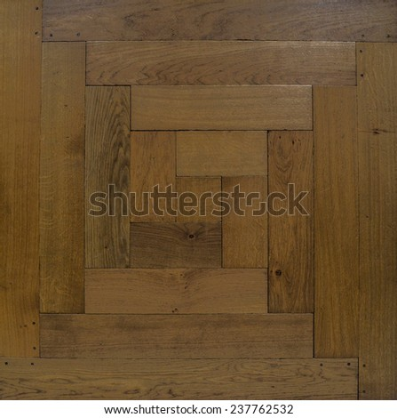 Background, texture. Antique modular flooring, a parody of oak wood. The figure well. The parquet. - stock photo