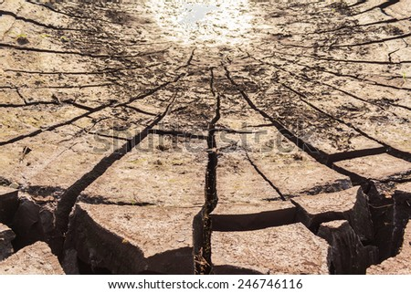 Background/Texture, Land parched by drought, Cracked earth separation. - stock photo
