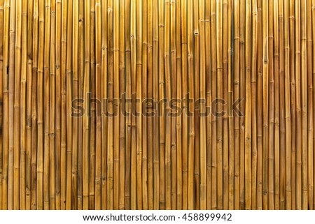 Background / texture of a golden bamboo wall or panel lit by interior down lights.