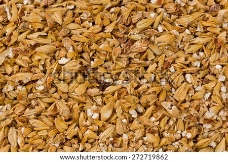 Background texture of cracked malted barley. - stock photo