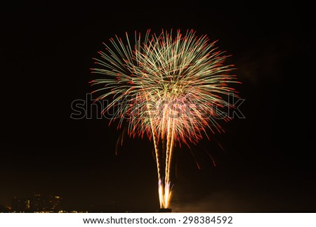 background texture of fireworks in the night at Hua Hin Thailand