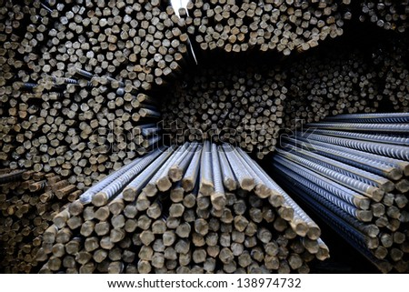Background texture of steel rods used in construction - stock photo