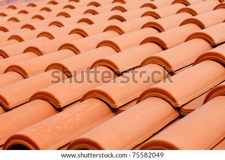 Background texture pattern of red ceramic roof shingles - stock photo