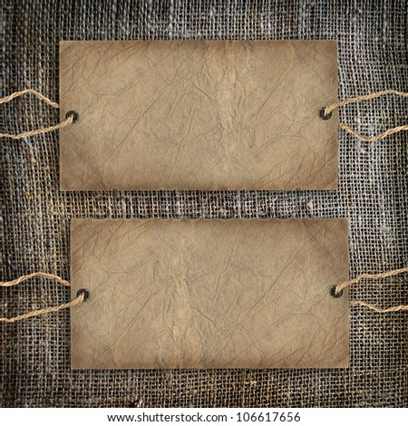 Background texture vintage burlap with label - stock photo